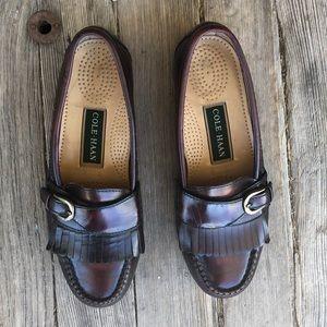 Cole Haan Kiltie fringe pinch buckle loafers
